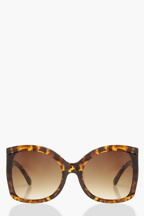 Womens Wave Arm Tortoiseshell Oversized Sunglasses