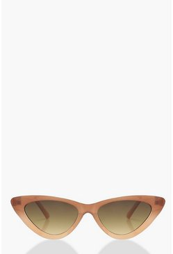 Womens Brown Ombre Frame Skinny Cat Eye Sunglasses
