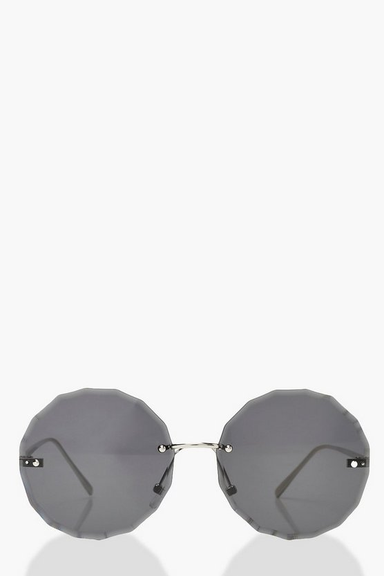 Black Smoke Lens Straight Edge Round Sunglasses