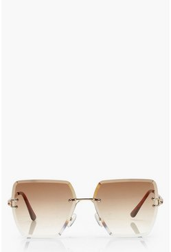 Brown Frameless Vintage Look Square Sunglasses