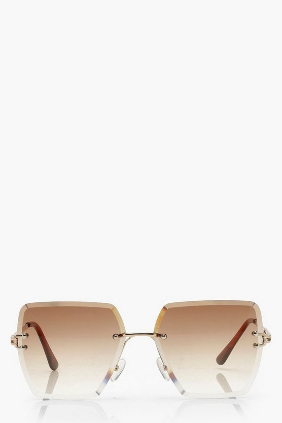 Frameless Vintage Look Square Sunglasses