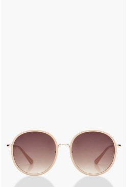Dam Oversized Round Blush Frame Sunglasses