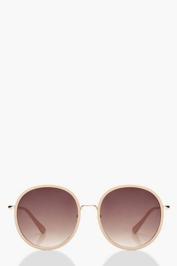 Womens Oversized Round Blush Frame Sunglasses