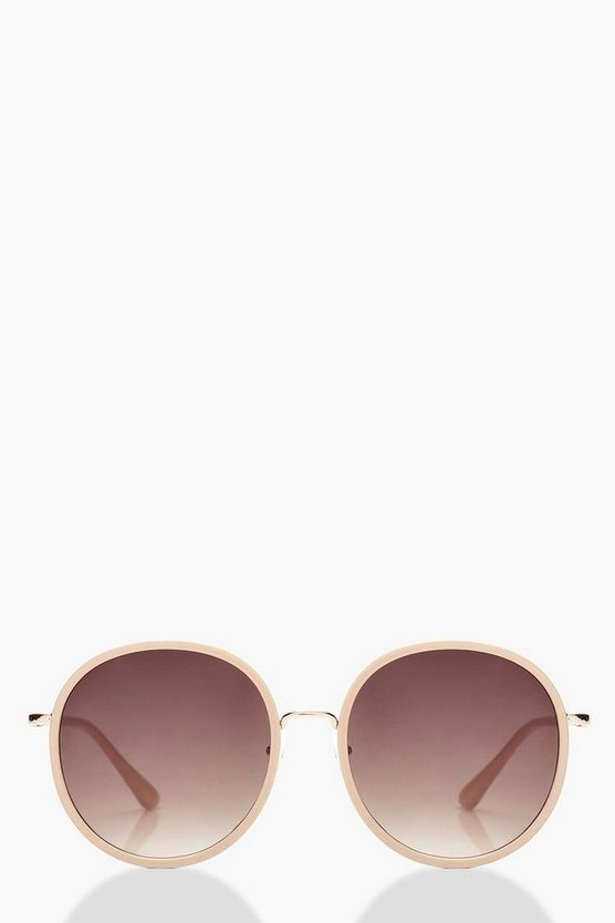 Oversized Round Blush Frame Sunglasses
