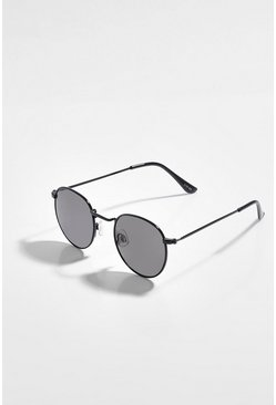 Black Flat Lens Round Sunglasses