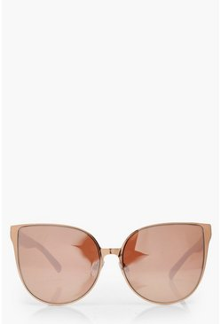 Womens Rose Gold Oversized Retro Sunglasses