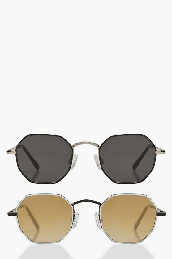 Multi Slim Hexagon Sunglasses 2 Pack