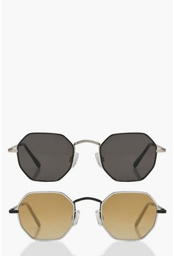 Womens Multi Slim Hexagon Sunglasses 2 Pack