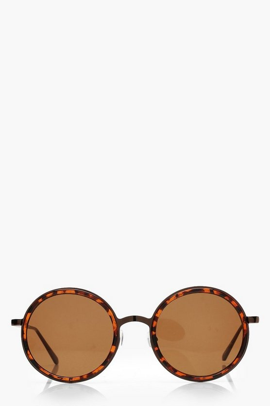Womens Brown Tortoiseshell Oversized Round Sunglasses