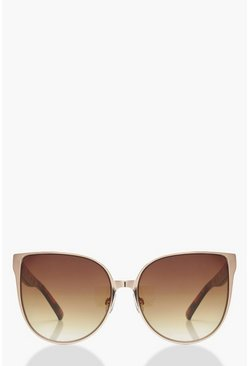 Brown Tortoiseshell Arm Oversized Sunglasses