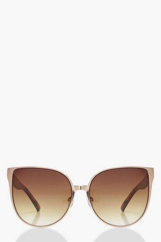 Womens Brown Tortoiseshell Arm Oversized Sunglasses