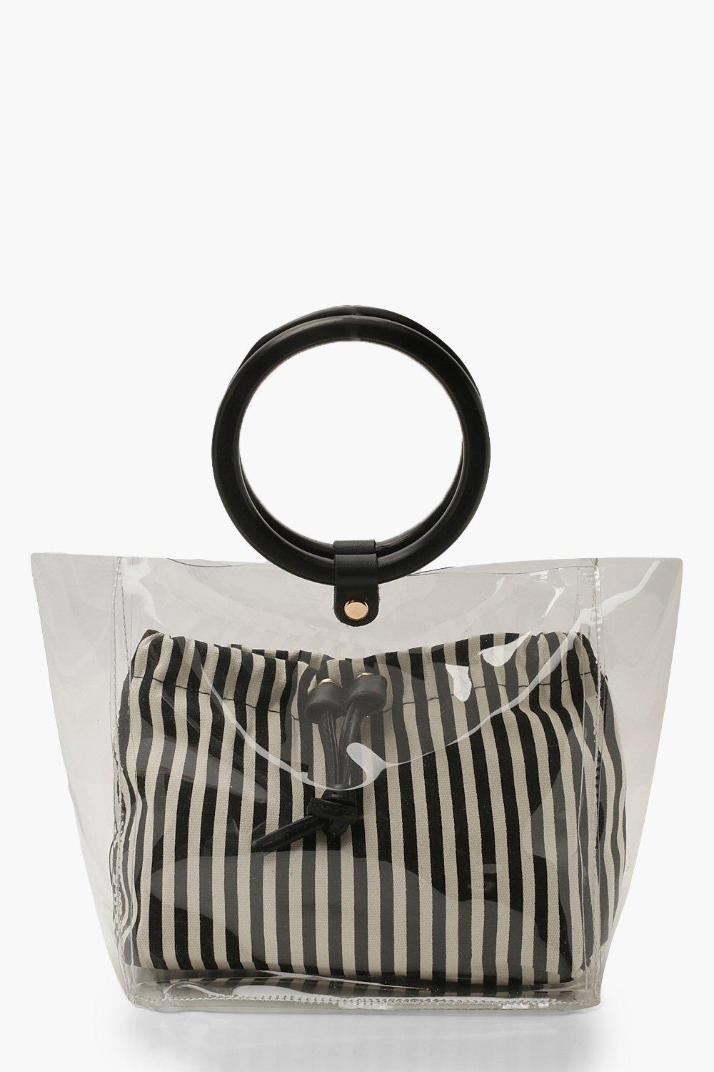 Stripe Pouch Wooden Handle Clear Bag