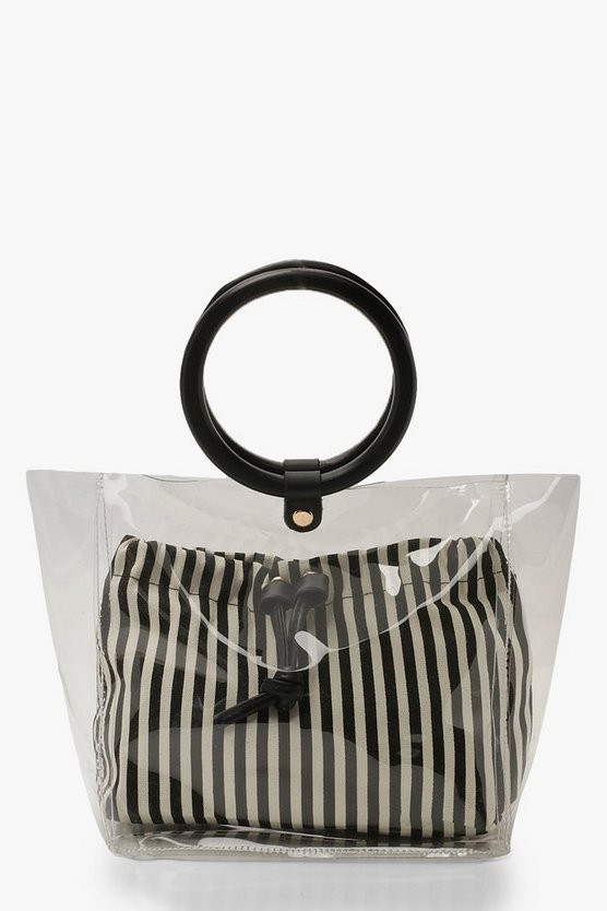 Womens Black Stripe Pouch Wooden Handle Clear Bag