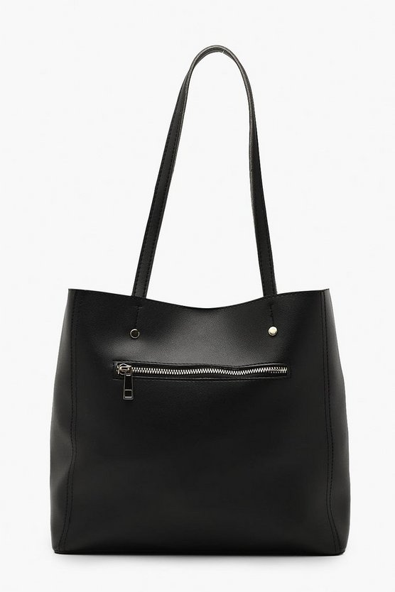 Womens Black Zip Window Tote Bag