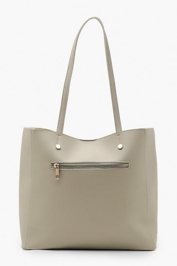Womens Grey Zip Window Tote Bag