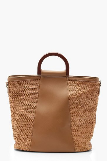 Womens Tan Wooden Handle Straw Panel Tote Bag