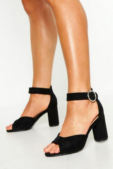 Womens Black Extra Wide Fit Knot Block Heels