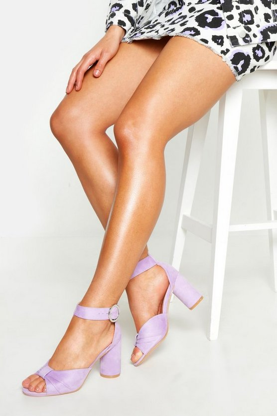 Womens Lilac Wide Fit Knot Front Block Heels