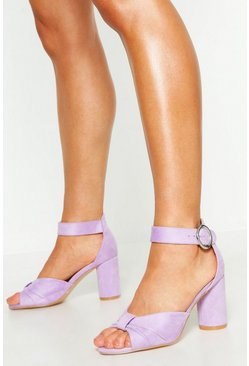 Womens Lilac Extra Wide Fit Knot Block Heels