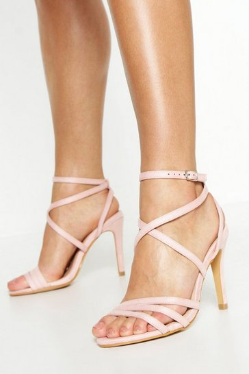 Womens Blush Extra Wide Fit Strappy Heel Sandals