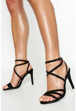 Black Extra Wide Fit Strappy Heel Sandals