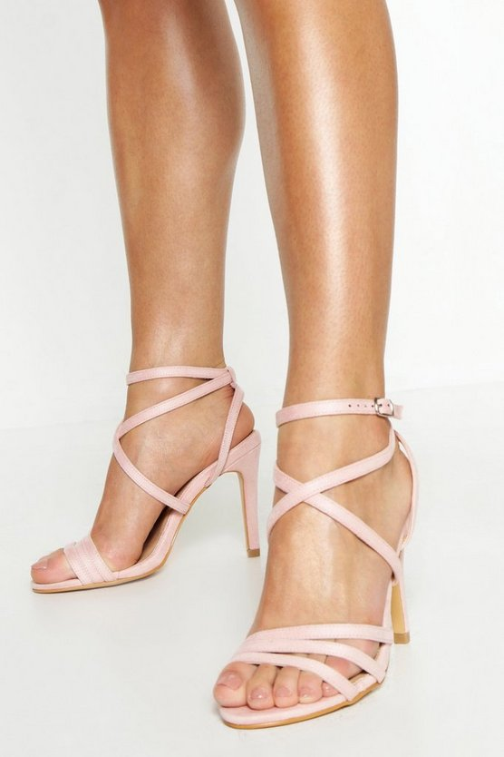 Womens Blush Wide Fit Strappy Heel Sandals