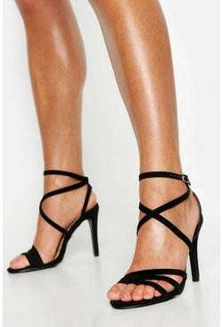 Womens Black Wide Fit Strappy Heel Sandals