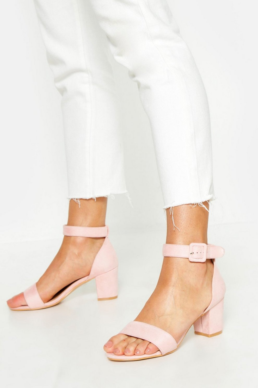 Extra Wide Fit Low Block Heel 2 Parts | Boohoo
