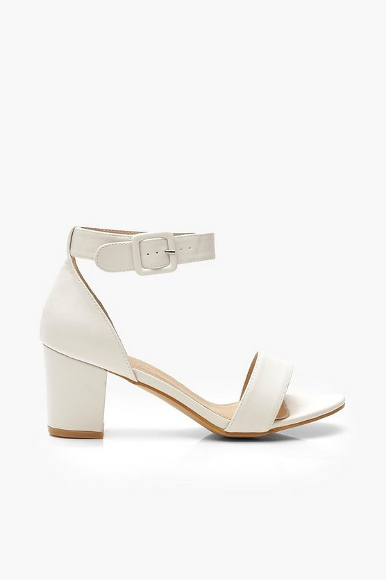 White Extra Wide Fit Low Block Heel 2 Parts