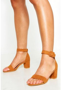 Tan Wide Fit Low Block Heel 2 Parts