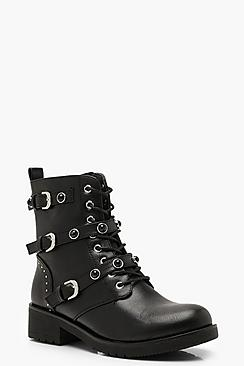 Studded Lace Up Hiker Boots