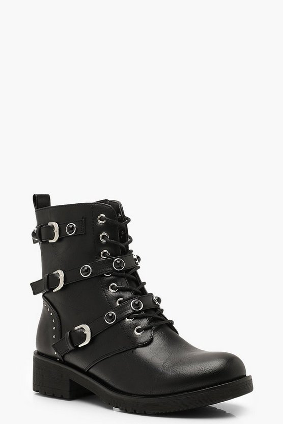 Womens Black Studded Lace Up Hiker Boots