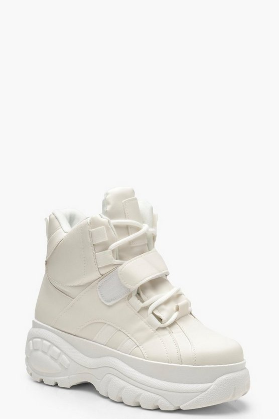 White Chunky Platform Hiker Trainers