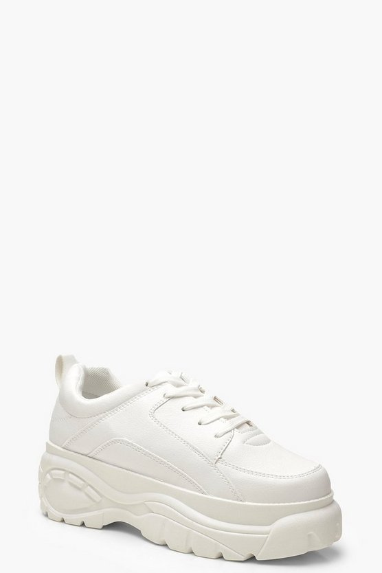 Womens White Chunky Platform Sneakers