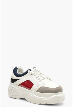 Womens Grey Colour Block Chunky Platform Trainers