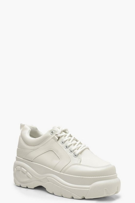 Womens White Chunky Platform Trainers