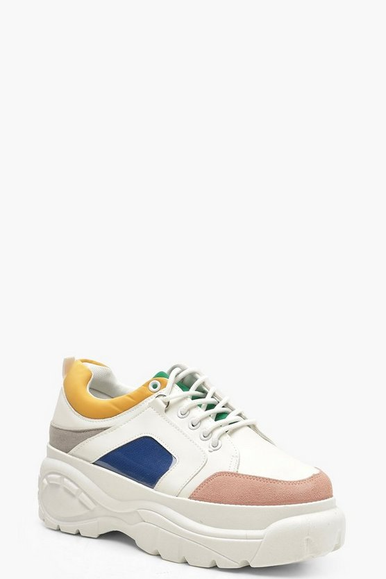 Colour Block Chunky Platform Trainers