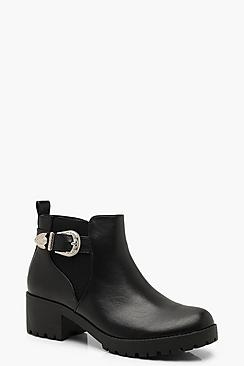 Western Buckle Chelsea Boots