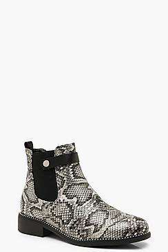 Snake Print Chelsea Boots