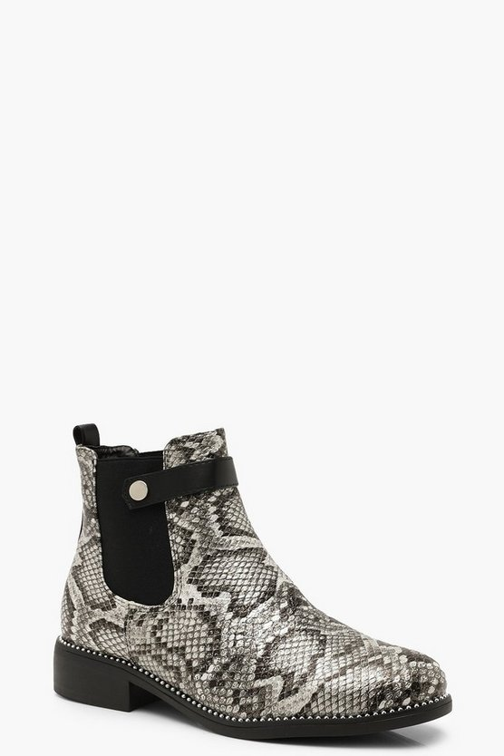 Snake Print Chelsea Boots