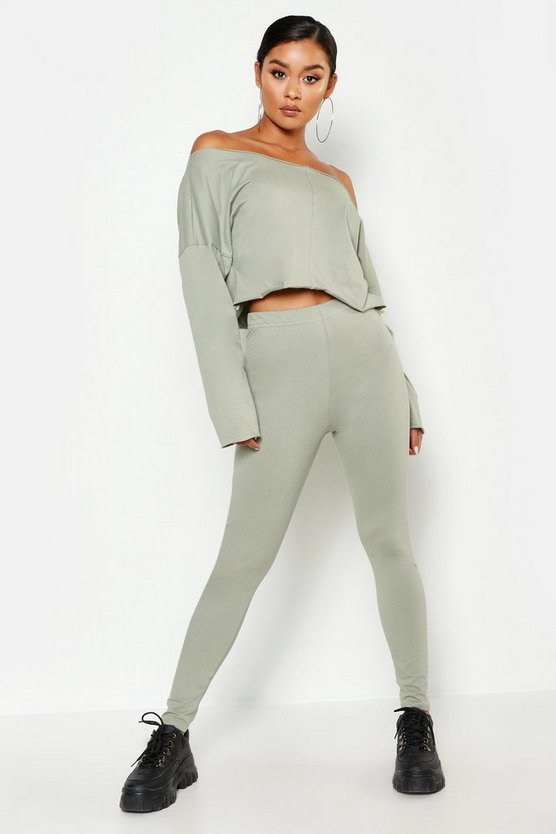 Womens Sage Cotton Elastane High Waisted Leggings