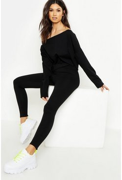 Womens Black Cotton Elastane High Wasited Leggings