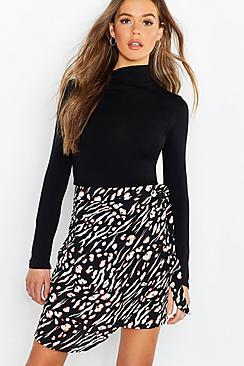 Animal Print Wrap Tie Waist Mini Skirt