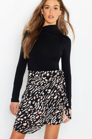 Womens Black Animal Print Wrap Tie Waist Mini Skirt