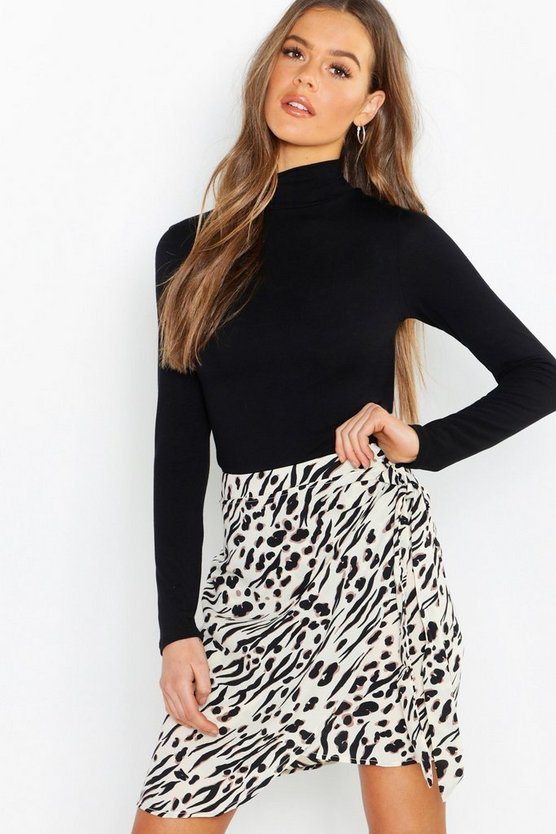 Womens Stone Animal Print Wrap Tie Waist Mini Skirt