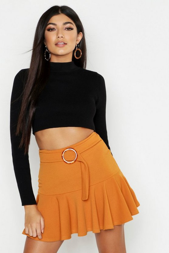 Womens Mustard Drop Hem Horn Buckle Mini Skirt