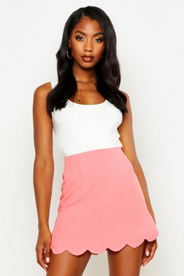 Womens Coral Scallop Trim Mini Skirt