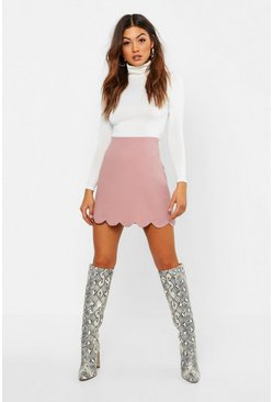 Womens Dusty rose Scallop Trim Mini Skirt