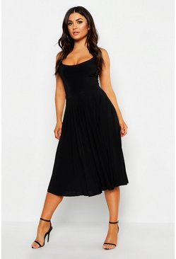 Womens Black Slinky Pleated Midi Skirt
