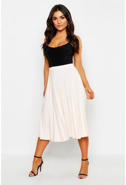 Womens Nude Slinky Pleated Midi Skirt